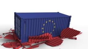 Zbiornik z flagą unia europejska łama ładunku zbiornika z flagą Chiny Wojna handlowa lub ekonomiczny konflikt ilustracja wektor