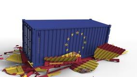 Zbiornik z flagą unii europejskiej UE łama ładunku zbiornika z flagą Hiszpania Wojna handlowa lub ekonomiczny konflikt ilustracja wektor