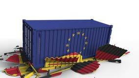 Zbiornik z flagą unii europejskiej UE łama ładunku zbiornika z flagą Niemcy Wojna handlowa lub ekonomiczny konflikt ilustracji