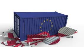 Zbiornik z flagą unii europejskiej UE łama ładunku zbiornika z flagą Polska Wojna handlowa lub ekonomiczny konflikt ilustracji