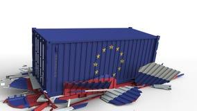 Zbiornik z flagą unii europejskiej UE łama ładunku zbiornika z flagą Rosja Wojna handlowa lub ekonomiczny konflikt ilustracja wektor