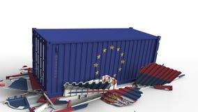 Zbiornik z flagą unii europejskiej UE łama ładunku zbiornika z flagą Serbia Wojna handlowa lub ekonomiczny konflikt ilustracja wektor