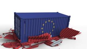 Zbiornik z flagą unii europejskiej UE łama ładunku zbiornika z flagą Szwajcaria Wojna handlowa lub ekonomiczny ilustracji