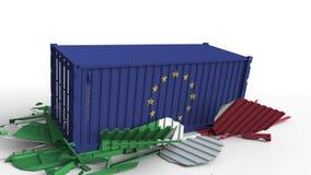Zbiornik z flagą unii europejskiej UE łama ładunku zbiornika z flagą Włochy Wojna handlowa lub ekonomiczny konflikt ilustracji