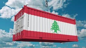 Zbiornik z flaga Liban Libańczyka eksport lub import odnosić sie konceptualną 3D animację zbiory