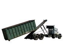 zbiornik z odizolowane odmówić rolki ciężarówki śmieci Obrazy Stock