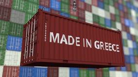 Zbiornik z ROBIĆ W GRECJA podpisie Grka eksporta lub importa powiązana loopable animacja royalty ilustracja