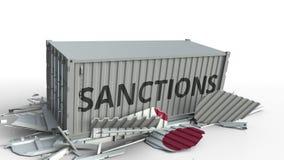 Zbiornik z sankcja tekstem łama ładunku zbiornika z flagą Japonia Embargo lub polityczny zakaz eksporta lub importowego ilustracja wektor
