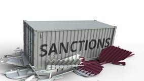 Zbiornik z sankcja tekstem łama ładunku zbiornika z flagą Katar Embargo lub polityczny zakaz eksporta lub importowego royalty ilustracja