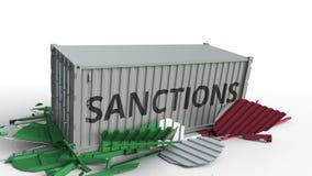 Zbiornik z sankcja tekstem łama ładunku zbiornika z flagą Włochy Embargo lub polityczny zakaz eksporta lub importowego ilustracji
