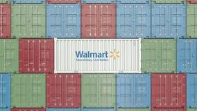 Zbiornik z Walmart korporacyjnym logo Redakcyjna 3D animacja zbiory wideo