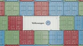 Zbiornik z wolkswagena korporacyjnym logo Redakcyjna 3D animacja zbiory
