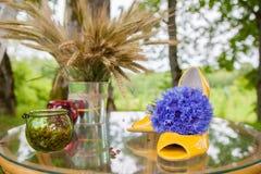 Zbiornik z zieleni flancami i kolorów żółtych butami Fotografia Stock