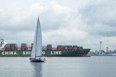 Zbiornika statek przyjeżdża w Seattle, Waszyngton, usa Fotografia Royalty Free
