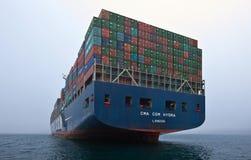 Zbiornika statku CMA CGM Gidra pozycja na drogach przy kotwicą Nakhodka Zatoka Wschodni (Japonia) morze 22 07 2015 Obrazy Royalty Free