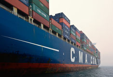 Zbiornika statku CMA CGM Gidra pozycja na drogach przy kotwicą Nakhodka Zatoka Wschodni (Japonia) morze 22 07 2015 Zdjęcie Royalty Free