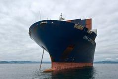 Zbiornika statku CMA CGM Marlin pozycja na drogach przy kotwicą Nakhodka Zatoka Wschodni (Japonia) morze 02 08 2015 Zdjęcia Stock