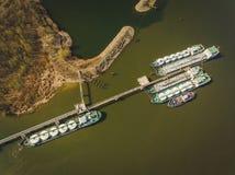 Zbiornikowiec do ropy na Don rzece Zdjęcia Royalty Free