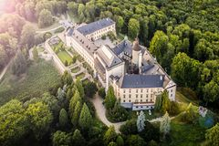 Zbiroh - aerial drone skyline view of castle. Zbiroh. Aerial drone skyline view of medieval castle. Located in Czech republic. It is very popular touristic royalty free stock photo