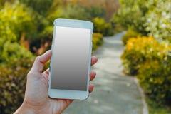 Zbliżenie żeńska ręka używać mądrze telefon obrazy royalty free