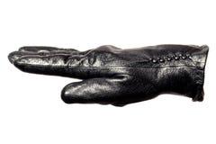 Zbliżenie czarna rzemienna rękawiczka, palce, palma, boczny widok Isolatedwhite tło Pojęcie symbole, znaki, liczby zdjęcia stock