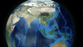 Zbliżać przez przestrzeni lokacja w kuli ziemskiej animaci - Bangladesz ilustracja wektor