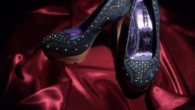Zbliżać się, para drelichy heeled buty, stoi na czerwonym płótnie zdjęcie wideo