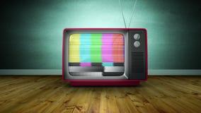Zbliża wewnątrz animację obraca dalej stary TV i żadny sygnał zbiory wideo