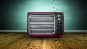 Zbliża wewnątrz animację obraca dalej stary TV i żadny sygnał w pokoju z drewnianą podłogą zbiory