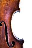 zbliżenia f dziurę skrzypce. obrazy stock