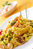 zbliżenia naczynia paella spanish typowy obraz royalty free