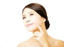 Zbliżenia piękna kobiety młoda twarz zdjęcie royalty free