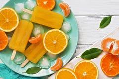 Zbliżenia popsicle pomarańcze z plasterkami świeża pomarańcze, mandarynka i zieleni liście na białym nieociosanym deska stole, Od obraz royalty free
