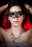Zbliżenia portret seksowna kobieta w czerwieni przyjęciu Zdjęcia Royalty Free