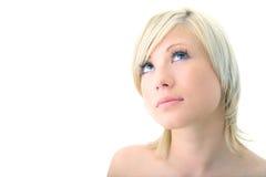 Zbliżenia portreta piękna blondynki kobieta zdjęcia royalty free