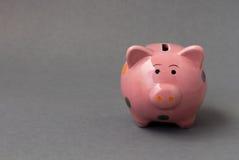Zbliżenia prosiątka różowy ceramiczny bank na ciemnym tle zdjęcia stock