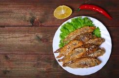 Zbliżenia talerz z hiszpańskimi boquerones fritos, obijać i smażyć sardelami typowymi w Hiszpania, na nieociosanym drewnianym sto Fotografia Royalty Free