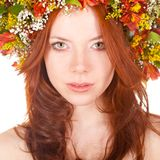 zbliżenia twarzy z włosami portreta czerwieni kobieta Obraz Royalty Free