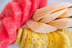 Zbliżenie Świeże tropikalne owoc, ananas, kantalup i arbuz na talerzu, zdjęcie royalty free