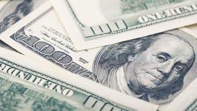 Zbliżenie Amerykańskiego pieniądze dolarowy rachunek Wiele 100 USA banknot zdjęcia royalty free