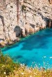 Zbliżenie błękitne jamy na Zakynthos wyspie Obrazy Royalty Free