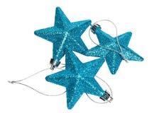 Zbliżenie błękitnej gwiazdy bożych narodzeń Piękne dekoracje na bielu Fotografia Stock