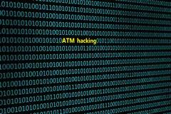 Zbliżenie binarny kod z wpisowy ` ATM siekać `, Zdjęcia Stock