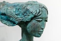 Zbliżenie Brązowy Statue& x27; s wyrażenie: Twarz z Długi Horyzontalnym Zdjęcie Royalty Free