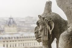 Zbliżenie chimera Notre-Dame Paryski katedralny frank obraz stock