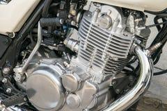 Zbliżenie chromowany motocyklu silnik Obraz Stock
