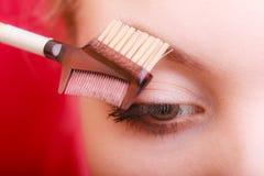 Zbliżenie część kobiety twarzy oka makeup szczegół obraz stock
