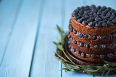 Zbliżenie czekoladowy wyśmienicie tort z czarnymi jagodami obraz stock