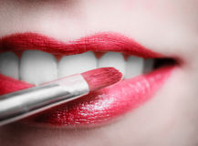 Zbliżenie czerwieni menchii żeńskie wargi z makeup pomadką szczotkują Obrazy Stock