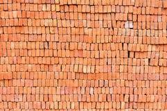 Zbliżenie czerwonej cegły rozsypisko Obrazy Royalty Free